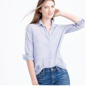 J. Crew Perfect Boy Shirt Stipe Button Up